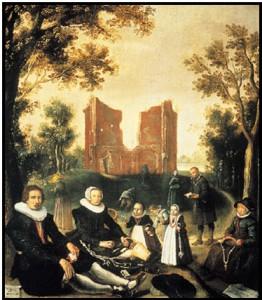 Vermoedelijk katholieke familie op bedevaart in Heiloo. Schilderij door Gerrit de Jongh, De Capel van Ons Lieve Vrouwe te Runcxputte te Heyloe in Oesdom, 1630